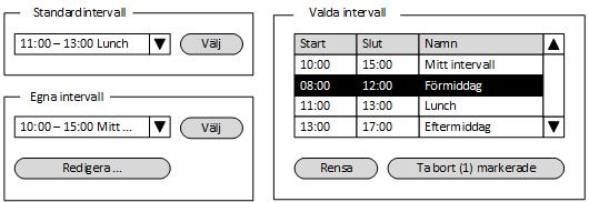 Exempeldialog med två kolumner. I den vänstra kolumnen finns två paneler, en för standardintervall och en för egna intervall. I den högra kolumnen finns en panel med valda intervall.